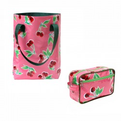 SET Shopper + Kulturtasche Cerezas pink