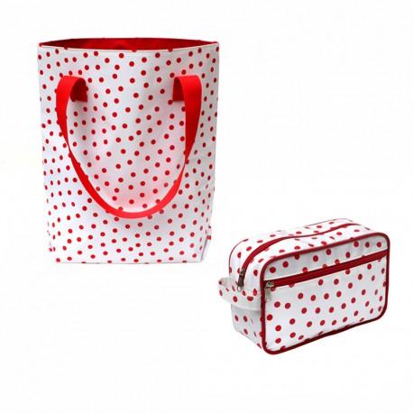 SET Shopper + Kulturtasche Lunares rotweiss