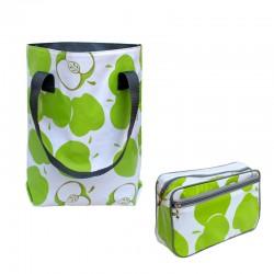 SET Shopper + Kulturtasche Manzanas grün