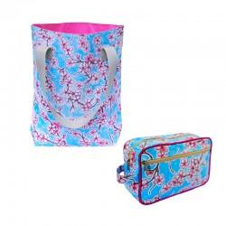 SET Shopper + Kulturtasche Hanami silber